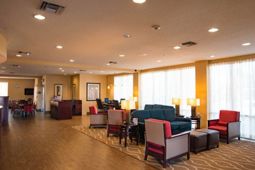 comfort suites near orlando international airport lobby area